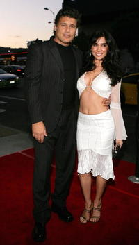 Steven Bauer and Guest at the premiere of