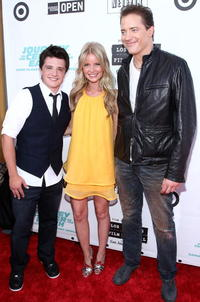Josh Hutcherson, Anita Briem and Brendan Fraser at the premiere of