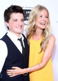 Josh Hutcherson and Anita Briem at the premiere of