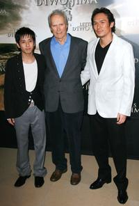 Kazunari Ninomiya, Director Clint Eastwood and Tsuyoshi Ihara at the photocall to promote