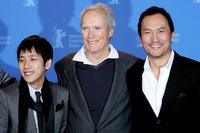 Kazunari Ninomiya, Director Clint Eastwood and Ken Watanabe at the premiere of