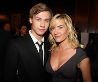 David Kross and Kate Winslet at the premiere of