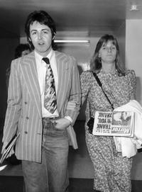 Paul McCartney and Linda McCartney at the London's Heathrow Airport.