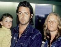 Paul McCartney, Linda McCartney and their daughter Mary at the London Airport.