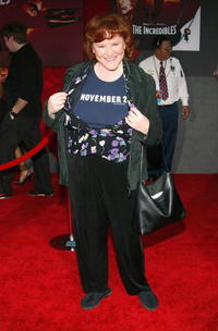Edie McClurg wearing a November 2 T-Shirt, attends the film premiere of