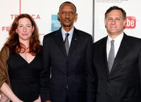Deborah Scranton, President of Rwandan Paul Kagame and Craig Hatkoff at the premiere of