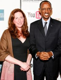 Deborah Scranton and President of Rwandan Paul Kagame at the premiere of