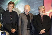 Ian McDiarmid, Hayden Christensen and director George Lucas at the photocall to promote the film