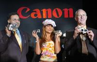 Alok Bharadwaj, Amrita Arora and Alan Grant at the launch of Canon digital products.