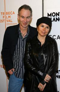 John McEnroe and Patty Smyth at the premiere of