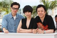 Arata, Bae Doo-Na and Itsuji Itao at the photocall of