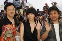 Itsuji Itao, Bae Doo-Na and Kore-Eda Hirokazu at the photocall of