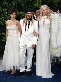 Mylene Jampanoi, John Galliano and Sharon Stone at the amfAR's