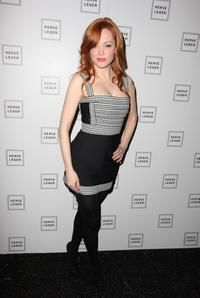 Rose McGowan at the Herve Leger By Max Azria Fall 2008 fashion show during Mercedes-Benz Fashion Week Fall 2008.