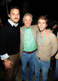 Jake Johnson, Henry Winkler and Max Winkler at the Los Angeles screening of