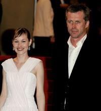 Adelaide Leroux and Bruno Dumont at the premiere of