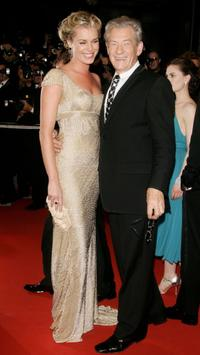 Sir Ian McKellen and Rebecca Romijn at the premiere of