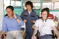Producer John Goldwyn, Andy Samberg and director Akiva Schaffer on the set of