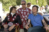 Andy Samberg, producer Lorne Michaels and director Akiva Schaffer on the set of