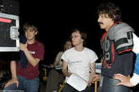 Jorma Taccone, director Akiva Schaffer and Andy Samberg on the set of