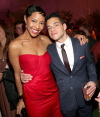 Tracey N. Heggins and Rami Malek at the California premiere of