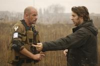 David James and Director Neill Blomkamp on the set of