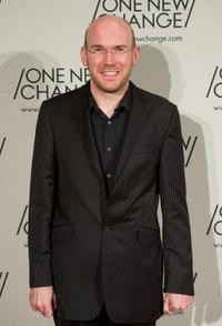 Alex MacQueen at the One New Change Rooftop Terrace party in London.