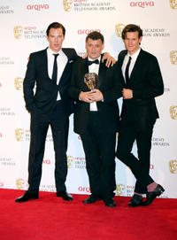 Benedict Cumberbatch, Steven Moffat and Matt Smith at the 2012 Arqiva British Academy Television Awards.
