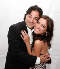 Producer Gabe Sachs and Jessica Stroup at the premiere party for the CW Network's
