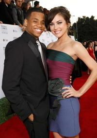 Tristan Wilds and Jessica Stroup at the 35th Annual People's Choice Awards.