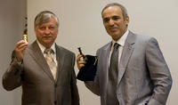 Anatoly Karpov and Garry Kasparov at the press conference of Chess Foundation Launch in Valencia.