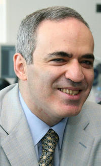 Garry Kasparov at the Bilateral Meeting with Head of European parliament German Hans-Gert Poettering in France.