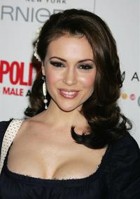 Alyssa Milano at the Cosmopolitan Magazine's celebration honoring Patrick Dempsey as Fun Fearless Male of the Year.