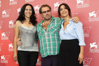 Ruba Blal, director Julian Schnabel and Yasmine Al Masri at the photocall of