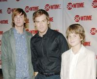 Devon Graye, Michael C. Hall and Dominic Janes at the premiere of