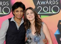 Director M. Night Shyamalan and Nicola Peltz at the Nickelodeon's 23rd Annual Kid's Choice Awards.
