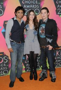 Director M. Night Shyamalan, Nicola Peltz and Jackson Rathbone at the Nickelodeon's 23rd Annual Kids Choice Awards.