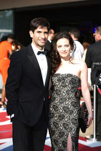 Raza Jaffrey and Lara Pulver at the 2012 Arqiva British Academy Television Awards.