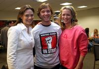 Emily Deschanel, Stephen Van Dorn and Jessica St. Clair at the Strike Show to benefit the Motion Picture and Television Fund.