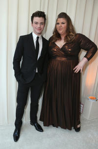 Chris Colfer and Ashley Fink at the 21st Annual Elton John AIDS Foundation Academy Awards Viewing party in California.