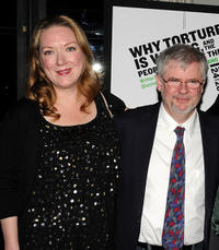 Kristine Nielsen and playwright Christopher Durang at the off-broadway opening night of