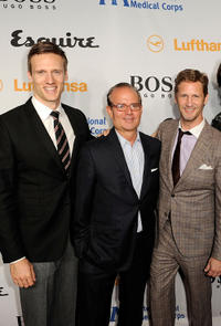 Teddy Sears, Esquire Magazine associate publisher Stephen Jacoby and senior director of PR and Marketing at Hugo Boss Ward Simmons at the Grand Opening of Esquire House LA to benefit International Medical Corps in California.