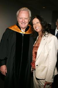 Sir Anthony Hopkins and his wife Stella Arroyave at the UCLA's School of Theater, Film And Television Commencement Ceremony.