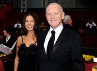 Stella Arroyave and Anthony Hopkins at the 81st Annual Academy Awards.