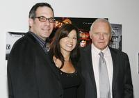 Producer Robert Katz, Stella Arroyave and Anthony Hopkins at the premiere of