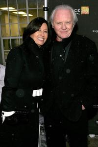 Stella Arroyave and Anthony Hopkins at the premiere of