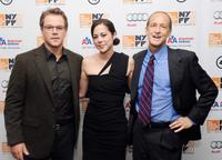 Matt Damon, Audrey Marrs and Charles Ferguson at the premiere of