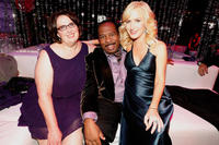 Phyllis Smith, Leslie David Baker and Angela Kinsey at the NBC Universal and Focus Features' Golden Globes after party in California.