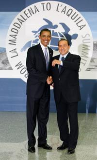 Barack Obama and Silvio Berlusconi at the Guardia Di Finanza School of Coppito.