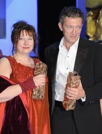 Yolande Moreau and Vincent Cassel at the Cesar Film Awards.
